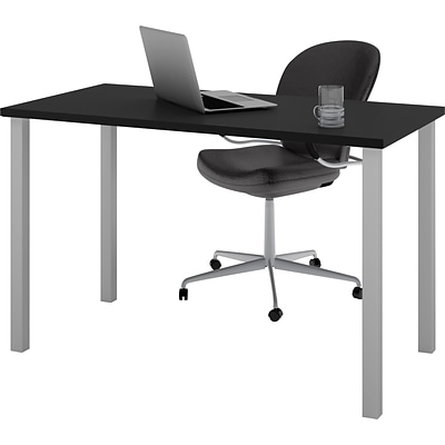 Bestar® 24x48 Table with Square Metal Legs; Black