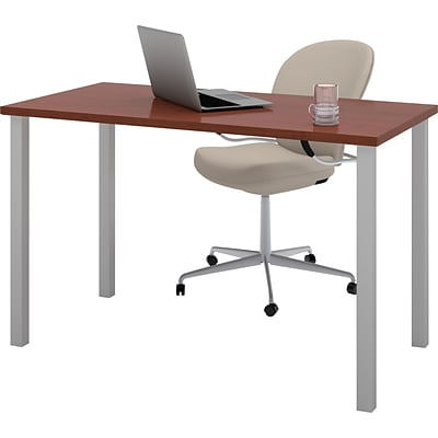 Bestar® 24x48 Table with Square Metal Legs; Bordeaux