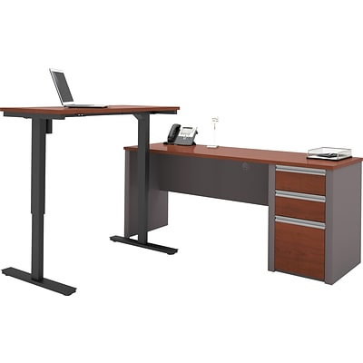 Bestar® Connexion L-Desk with Electric Height-Adjustable Table, Bordeaux/Slate