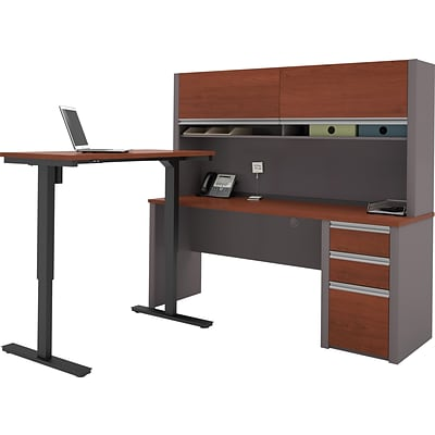 Bestar® Connexion L-Desk with Hutch & Electric Height-Adjustable Table, Bordeaux/Slate