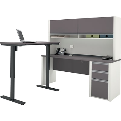 Bestar® Connexion L-Desk with Hutch & Electric Height-Adjustable Table, Slate/Sandstone
