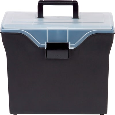 Quill Brand® Portable Plastic File Box with Organizer Top, Black