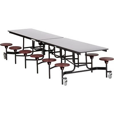 NPS® 12 Rectangular Cafeteria Table w/ 12 Stools, Grey/Burgundy