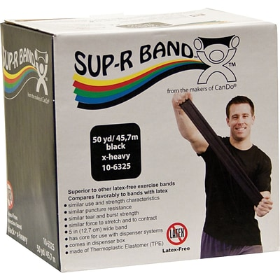 Sup-R Band® Latex-Free Exercise Band; Black, X-Heavy, 50 Yard