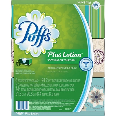 Puffs® Plus Lotion Facial Tissues, 2-Ply, 124 Sheets/Box, 6 Boxes/Pack