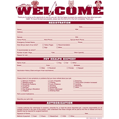 Medical Arts Press® Welcome Registration Form,  Pets Across Top