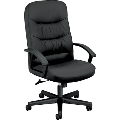 basyx by HON® VL641 Executive High-Back Office/Computer Chair, Black SofThread Leather, Seat: 21 x 20, Back: 21 x 29