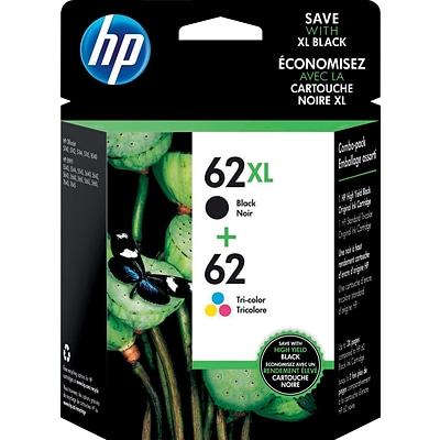 HP 62XL Black High-Yield & 62 Tri-Color Ink Cartridges, 2-Pack (N9H67FN)