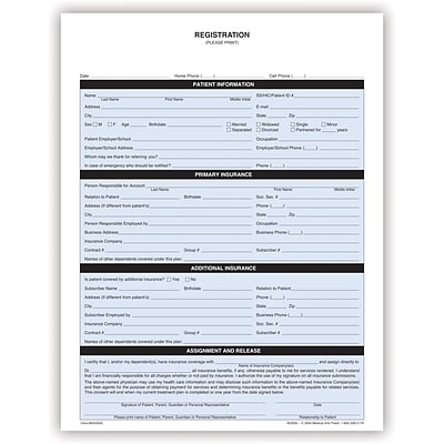 Medical Arts Press® Registration Form,  1-Part, English