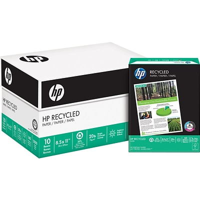 HP Recycled Paper; 8-1/2x11, Letter Size, 10 Reams/Carton