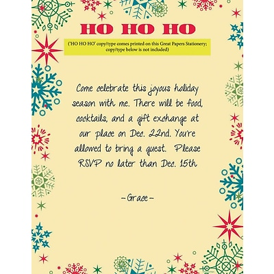 Great Papers® Holiday Stationery Ho Ho Ho Snowflakes, 80/Count