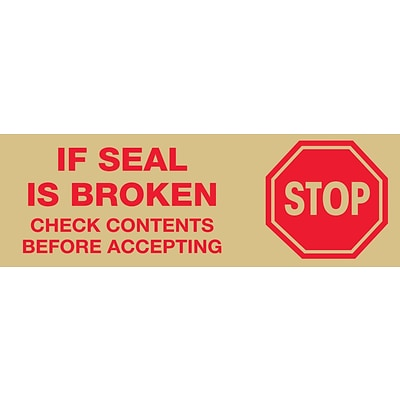 Tape Logic™ 3 Pre Printed Stop If Seal Is Broken Carton Sealing Tape, Red On Tan, 24/Case