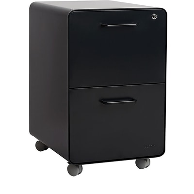 Poppin Stow 2 Drawer Vertical File, Black,Letter/Legal, 15.75W (103107)