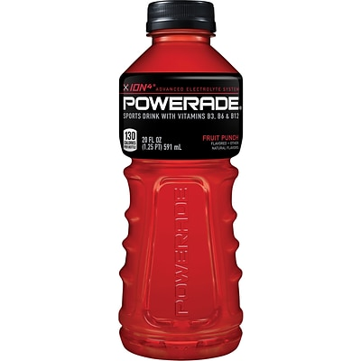 Powerade® Sports Drink, Fruit Punch, 20 oz., 24 Bottles/Pack