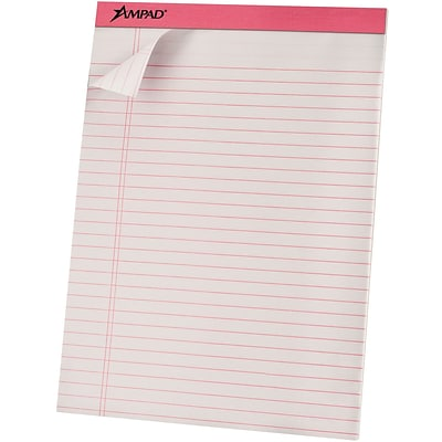 Ampad® Ruled Pad 8-1/2x11-3/4, Wide/Jr. Legal Ruling, Pink, 50 Sheets/Pad