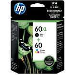 HP 60XL Black/60 Color Ink Cartridges, N9H59FN, Multi-pack (2 cart per pack)