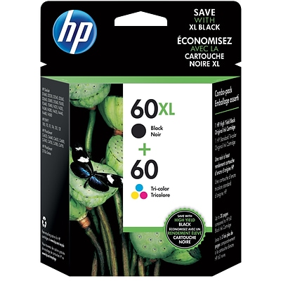 HP60XL/60 Black High Yield and Tri-Color Standard Yield Ink Cartridge, 2/Pack (N9H59FN#140)