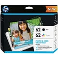 HP 62 Black/Color Ink (K3W67AN) Photo Card Value Pack, 45 Sheets, Multi-pack (2 cart per pack)