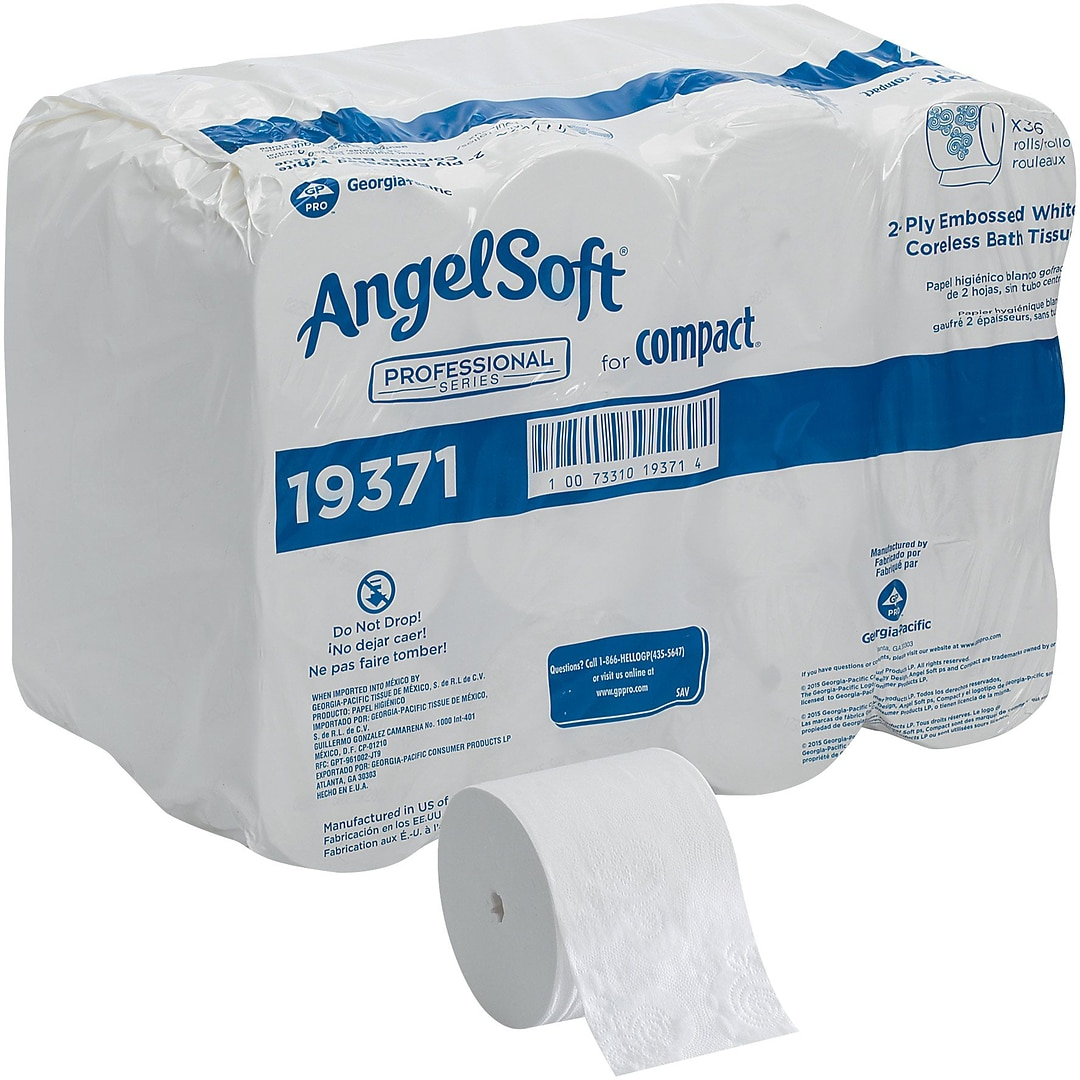 Angel Soft Professional Series Compact Coreless Toilet Paper, 2-Ply ...