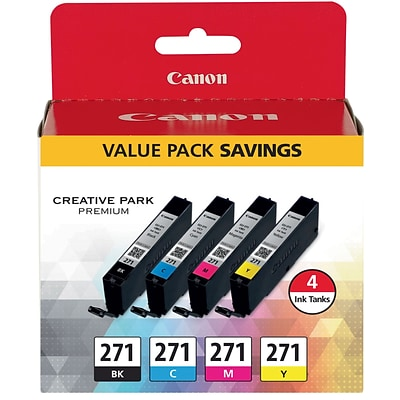 Canon CLI-271 BKCMY Ink Cartridges, (0390C005), Multi-pack (4 cart per pack)