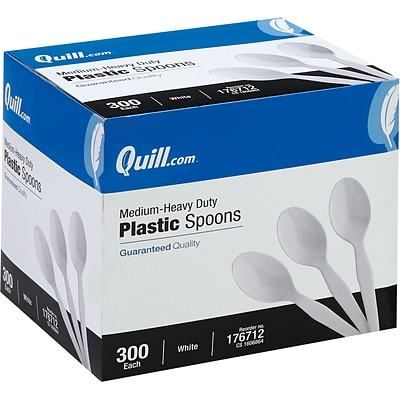 Quill Brand® Medium-Duty Plastic Cutlery; Spoons, White, 300/Box