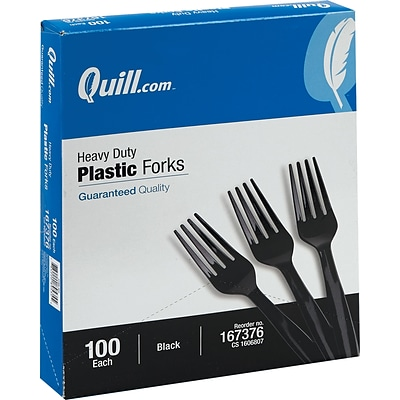 Quill Brand® Heavy-Duty Plastic Cutlery; Forks, Black, 100/Box