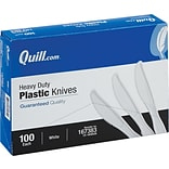 Quill Brand® Heavy-Duty Plastic Cutlery; Knives, White, 100/Box