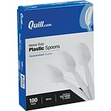 Quill Brand® Heavy-Duty Plastic Cutlery; Spoons, White, 100/Box
