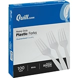 Quill Brand® Heavy-Duty Plastic Cutlery; Forks, White, 100/Box