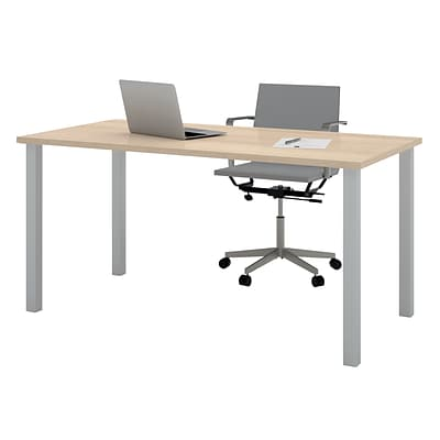 Bestar® 30x60 Table with Square Metal Legs, Northern Maple