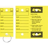 Quill Brand® Auto Service Key Tags; Yellow, 250/Bx