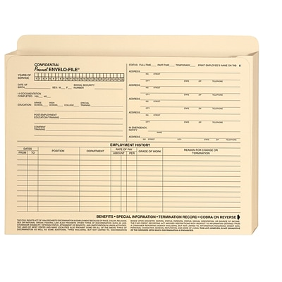 ComplyRight Expandable Confidential Personnel Envelo-File®