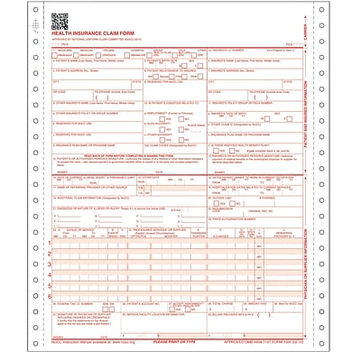 ComplyRight™ CMS-1500 Health Insurance Claim Form (02/12), 3-Part Continuous, White/Canary/Pink, Pack of 1,000