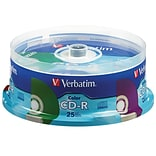 Verbatim 700MB 80MIN 52X Assorted Color CD-R Spindle, 25/Pack (98433)