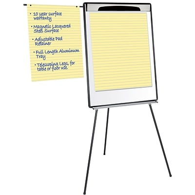 Silver Easy Clean Dry Erase Tri-Pod Pres. Easel with pen cups, Silver
