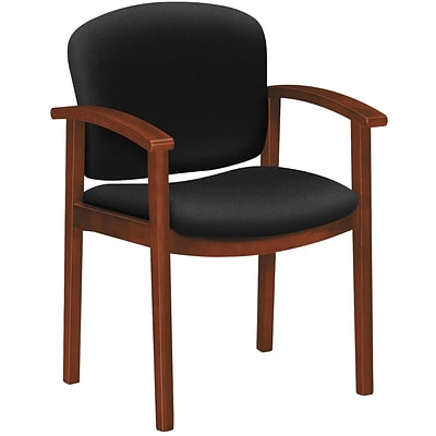 HON® 2111 Invitation Reception Series Wood Guest Chair, Cognac w/ Black Fabric