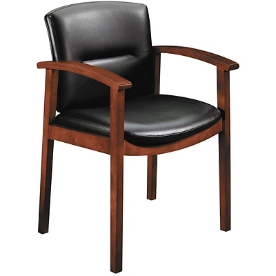 HON® 5000 Series Park Avenue Collection Guest Chair; Black Vinyl/Cognac