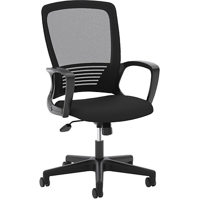 basyx by HON® VL525 High-Back Office Chair with Fixed Arms, Mesh, Black, Seat: 24W x 20D, Back: 20W x 19H
