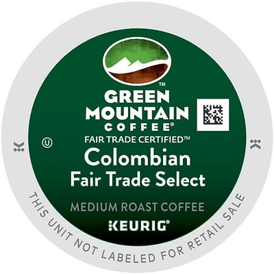 Green Mountain Coffee® Bulk K-Cup® Pods, Colombian Fair Trade Select, Medium Roast, 96/CT (6003)