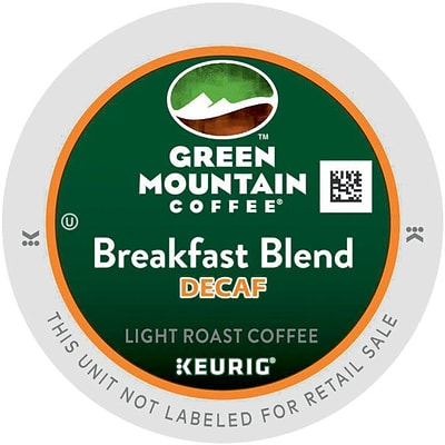 Green Mountain® Breakfast Blend Decaf Coffee, Keurig® K-Cup® Pods, Light Roast, Decaffeinated, 96/Carton (GMT7522CT)