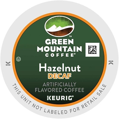 Green Mountain® Hazelnut Decaf Coffee, Keurig® K-Cup® Pods, Light Roast, Decaffeinated, 24/Box (4046)