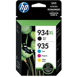 HP 934XL Black High-Yield & 935 Cyan, Magenta, Yellow Ink Cartridges, 4-Pack (N9H66FN)