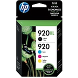 HP 920XL/920 Black High Yield, Cyan/Magenta/Yellow Standard Yield Ink Cartridges, 4/Pack (N9H61FN)