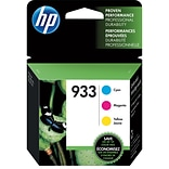 HP 933 Cyan/Magenta/Yellow Ink Cartridges, Standard Yield, 3/Pack (N9H56FN)