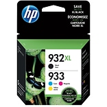 HP 932XL/933 Black High Yield, Cyan/Magenta/Yellow Standard Yield Ink Cartridges, 4/Pack (N9H62FN)