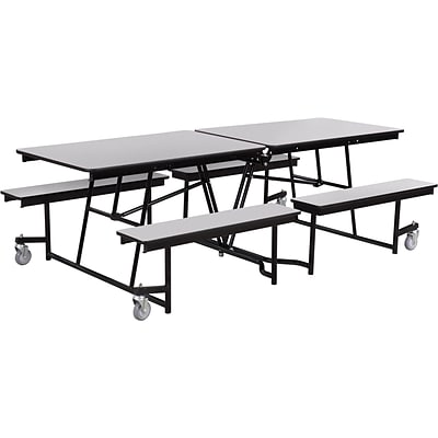 NPS® 8 Mobile Fixed Bench Cafeteria Table, Grey