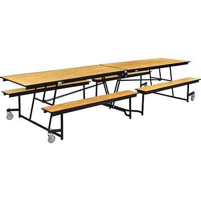 NPS® 12 Mobile Fixed Bench Cafeteria Table, Light Oak