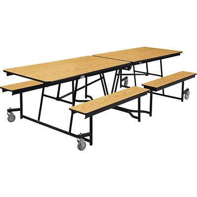 NPS® 10 Mobile Fixed Bench Cafeteria Table, Light Oak