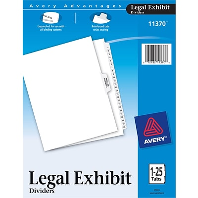 Avery® Legal Index Exhibit Dividers, Numerical 1-25 & Table of Contents, Letter Size