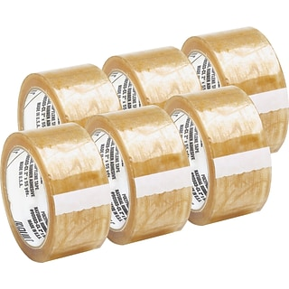 Quill Brand® Medium-Duty Natural Rubber Packing Tape; 2.3 Mil, 2 x 110 yds., Clear, 6/Pack, (C600)